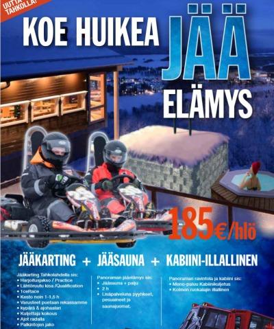 JÄÄKARTING  +  JÄÄSAUNA  +  KABIINI-ILLALLINEN