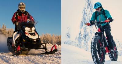 Guided e-Fat biking trip and snowmobile safari in the same program